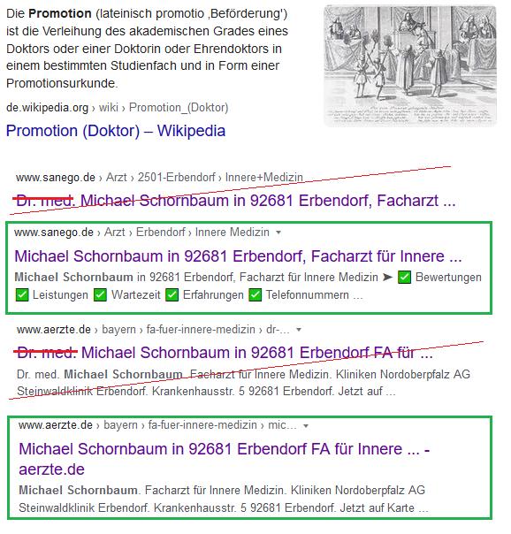 Schornbaum-Such-Treffer-Korrektur: kein Dr.-Titel?